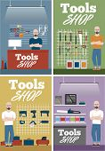 Salesman In Tools Shop Interior Banners Set. Assortment Of Hand Instruments And Power Tools. Showcas poster