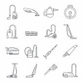 Vacuum Cleaner Washing Appliance Icons Set. Outline Illustration Of 16 Vacuum Cleaner Washing Applia poster