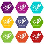 Football Pass Icons 9 Set Coloful Isolated On White For Web poster