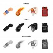 Basketball And Attributes Cartoon, Black, Monochrome Icons In Set Collection For Design.basketball P poster
