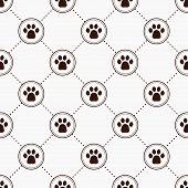 Cats Paw Print. Seamless Animal Pattern Of Paw Footprint poster
