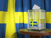 Ballot box with flag of Sweden and voting papers. Swedish presidential or parliamentary election.  3 poster