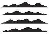 Mountains Silhouettes On The White Background.set Of Hand Drawn Landscape With Silhouette Mountain P poster
