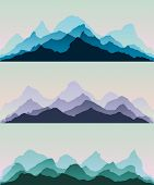Majestic Mountains.the Abstract Vector Image Reforestation In The Foreground And Different Levels Of poster