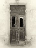 Sepia View Of A Broken Old Double Doors A Traditional Abandoned Spanish House With Broken Windows An poster