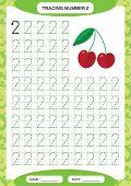 Number 2. Two Tracing Worksheet. Cherry Berry. Preschool Worksheet, Practicing Motor Skills - Tracin poster