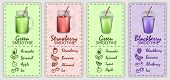Smoothie Fruit Juice Banner Concept Set. Realistic Illustration Of 4 Smoothie Fruit Juice Banner Hor poster