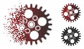Vector Cogwheel Icon In Sparkle, Dotted Halftone And Undamaged Whole Versions. Disintegration Effect poster
