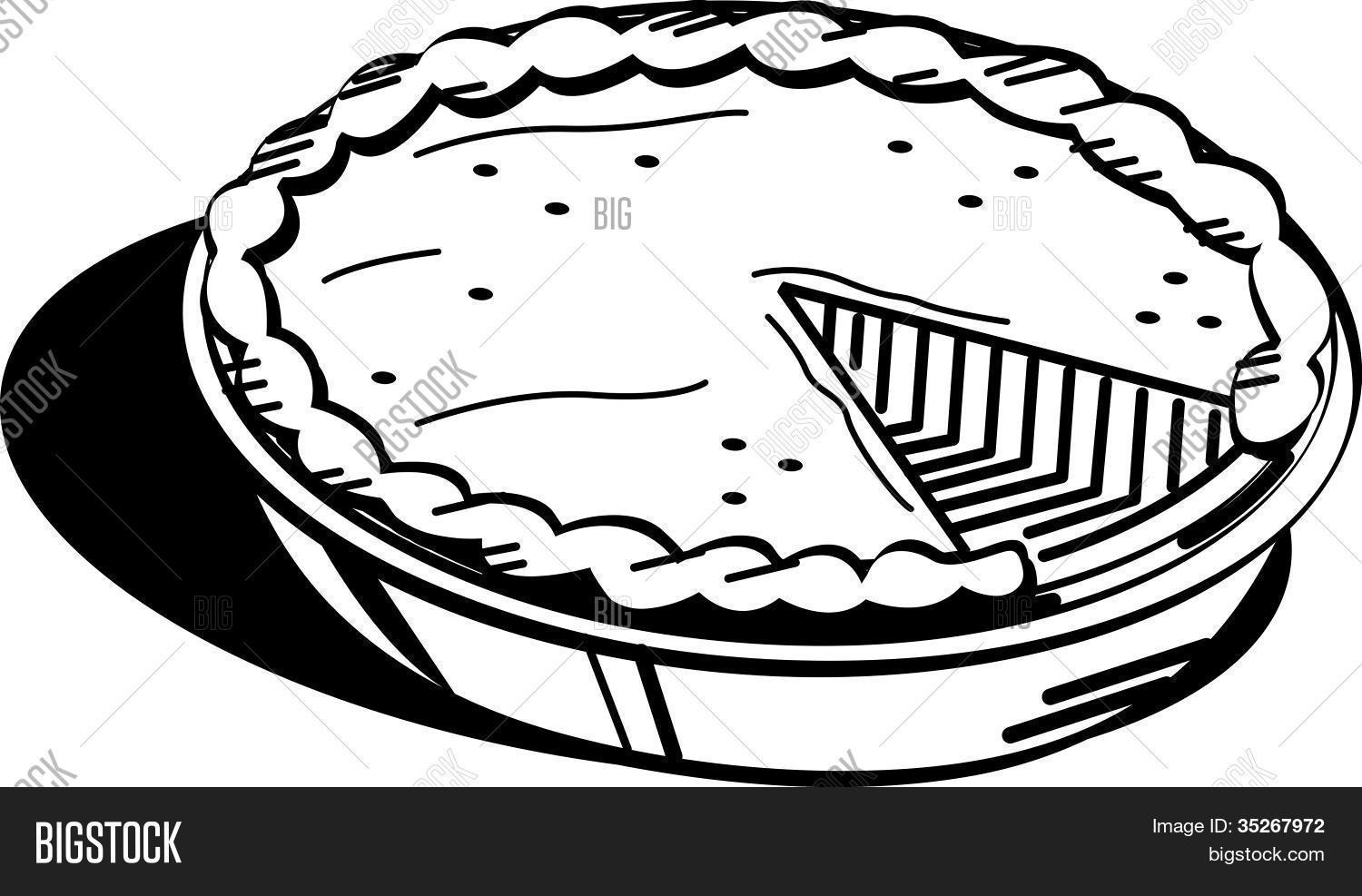 Pumpkin Pie Coloring Page Clip Art
