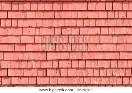 Old Weathered Red Barn, Detail Of Shingles