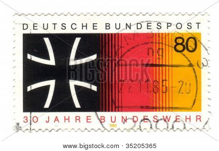 Germany - Circa 1985: Stamp Printed In Germany, Shows 30 Yrs Federal Armed Forces Bundeswehr, Circa