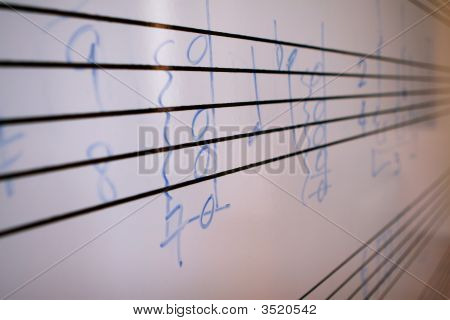 Sheet Music Written On A Score Board For A Lesson