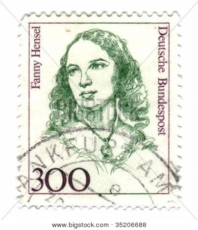 Germany - Circa 1989: Stamp Printed By Germany, Shows Portrait Of Fanny Hansel (1805-1847), Composer