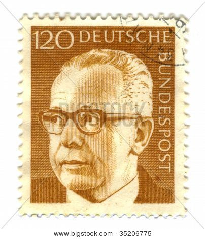 Germany - Circa 1971: A Stamp Printed In Germany Showing A Portrait Of Federal President Gustav Hein