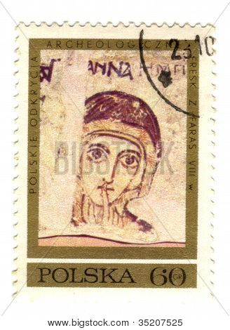 Poland - Circa 1971: A Stamp Printed In Poland, Shows Frescoes From Faras With Saint Anna, Series Po
