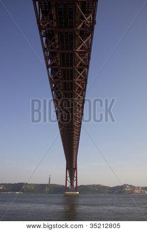 The 25th April Suspension Bridge Crossing River Tejo