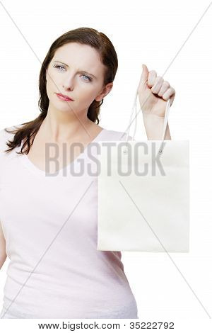 Thinking Woman With Copyspace Retail Shopping Bag