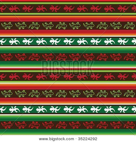 Seamless Mexican lizard fabric pattern