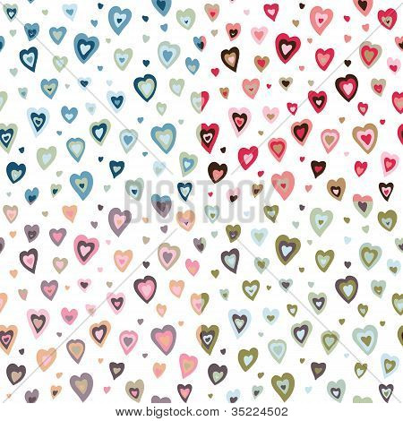 Seamless hearts fifties retro design pattern