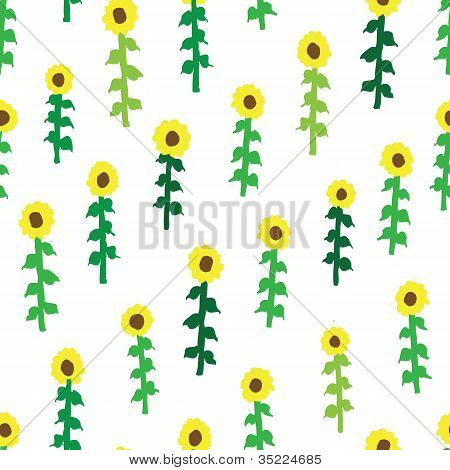 seamless retro fifties sunflower field pattern