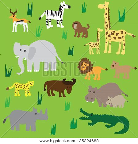 Seamless retro fifties african zoo animals pattern