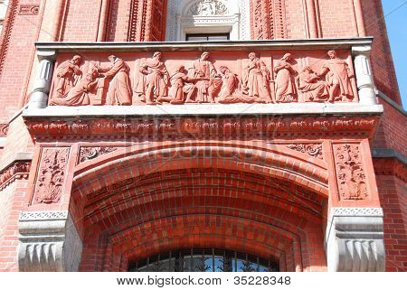 Details of the red city hall of Berlin, Germany