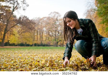 Young woman in fall season