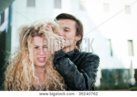 Ruffle hair - couple outdoors