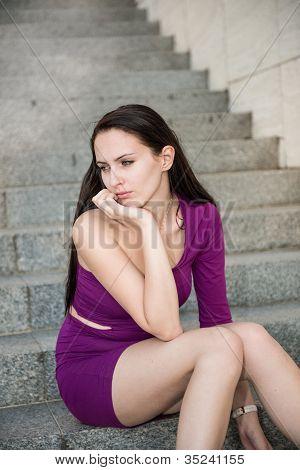 Sad woman - outdoor portrait