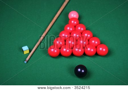 Snooker Balls And Cue