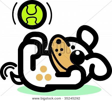 Dog Clip Art Playing With Ball