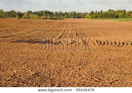Agriculture Plow Autumn Field. Loam Soil Prepare