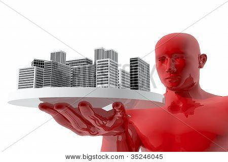 Man looking city in his hands