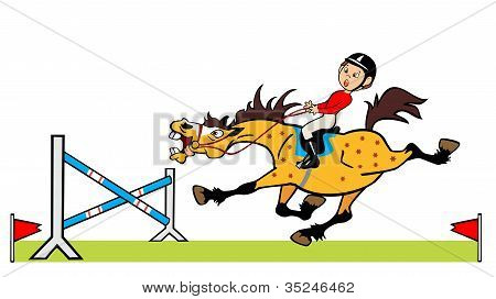Little Boy With Horse Jumping A Hurdle