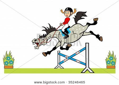 Little Girl With Horse Jumping A Hurdle