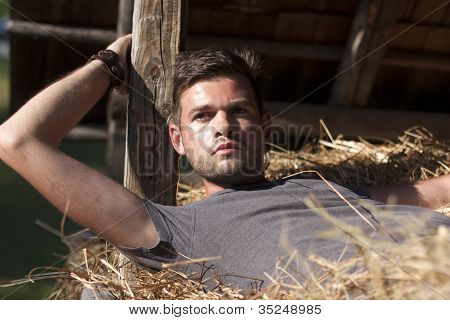 Man On Hay