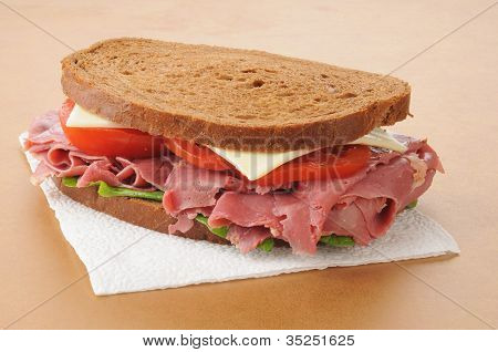 Corned Beef Sandwich On A Napkin