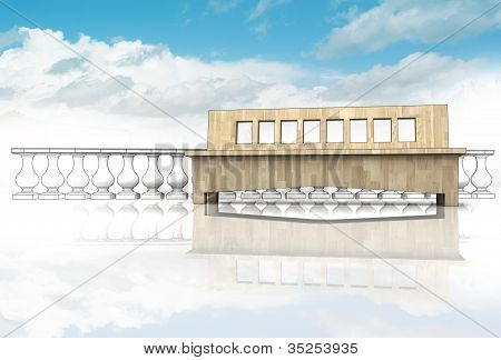 antic handrail balustrade with wooden bench in heaven on blue sky background