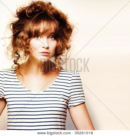 Hairdressing Woman With Knotty Hair Style