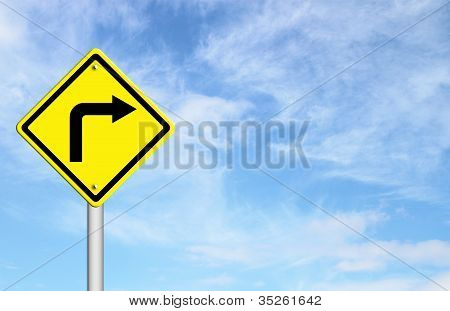 Road Sign - Right Turn Warning