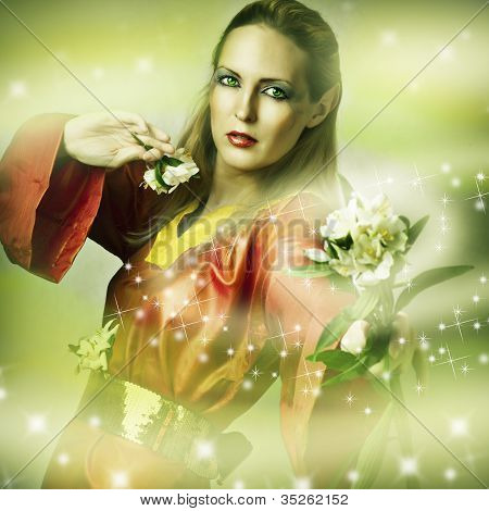 Fashion Fantasy Portrait Of Magic Woman
