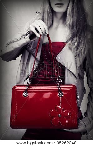Fashion Shot Of Red Patent Leather Bag