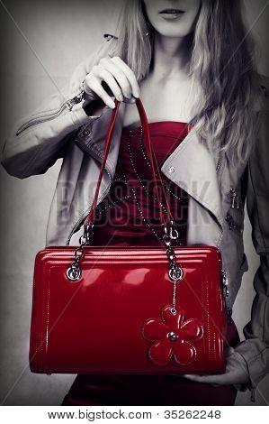 Tiro de moda del bolso de charol rojo