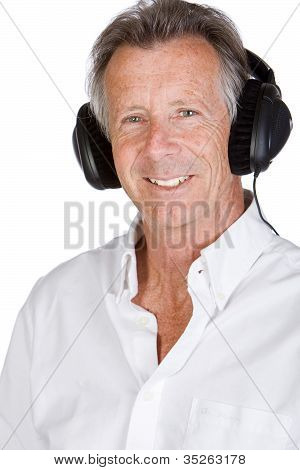 Handsome Senior Male With Headphones