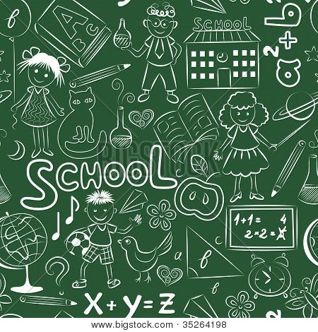 Green pattern with school theme