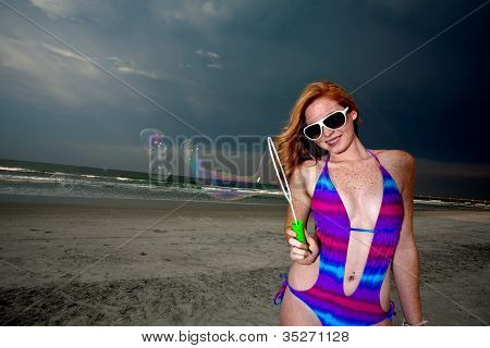 Young Woman Posing And Having Fun On A Beach
