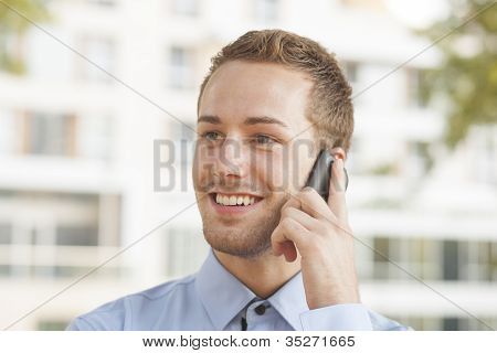 Smiling Businessman Looking In Future