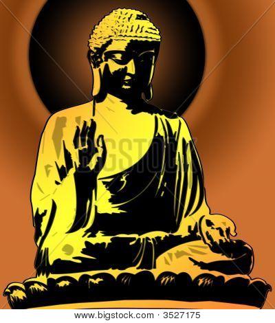 Golden Buddha Sitting Illustration On Sunset Background
