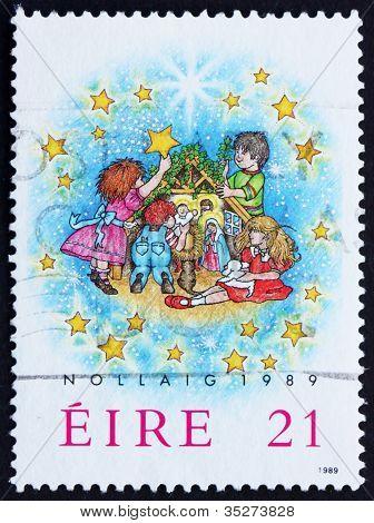 Postage stamp Ireland 1989 Children and Creche, Christmas