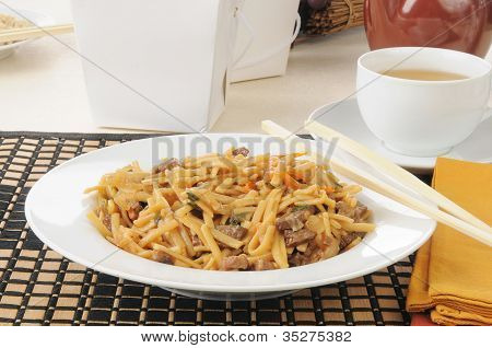 Beef Lo Mein With Chopsticks